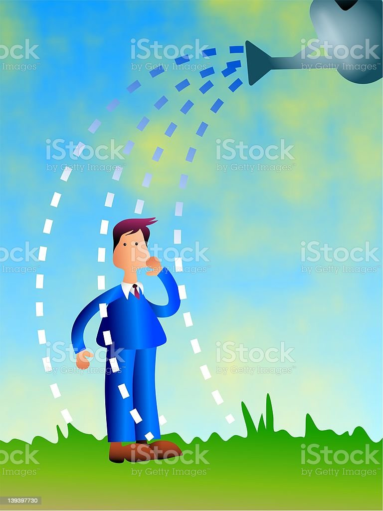 Watering Business vector art illustration