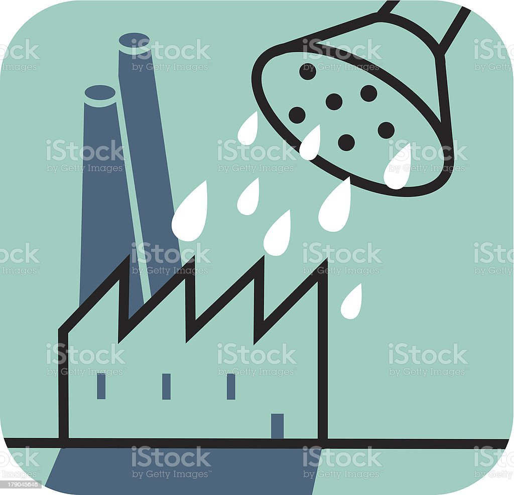 Watering can over a factory royalty-free stock vector art