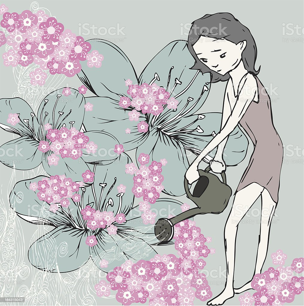 Watering Cherry Blossoms royalty-free stock vector art