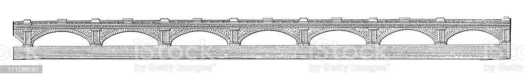 Waterloo Bridge, London, United Kingdom | Antique Architectural Illustrations royalty-free stock vector art