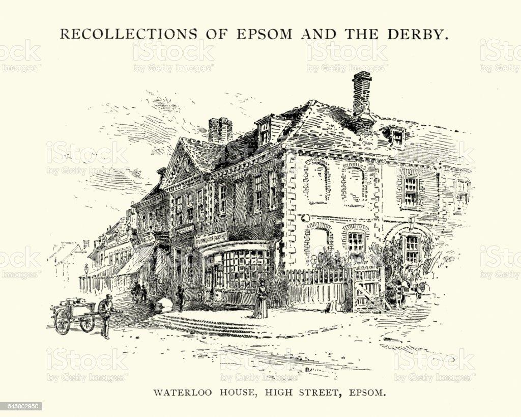 Waterloo House, High Street, Epsom, 19th Century vector art illustration