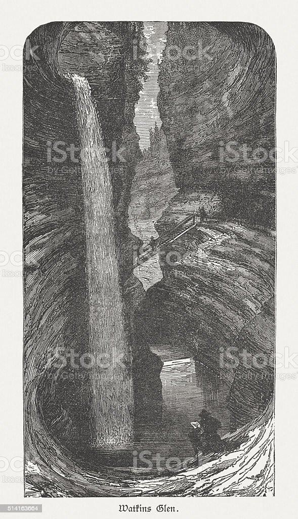 Watkins Glen State Park, USA, wood engraving, published in 1880 vector art illustration