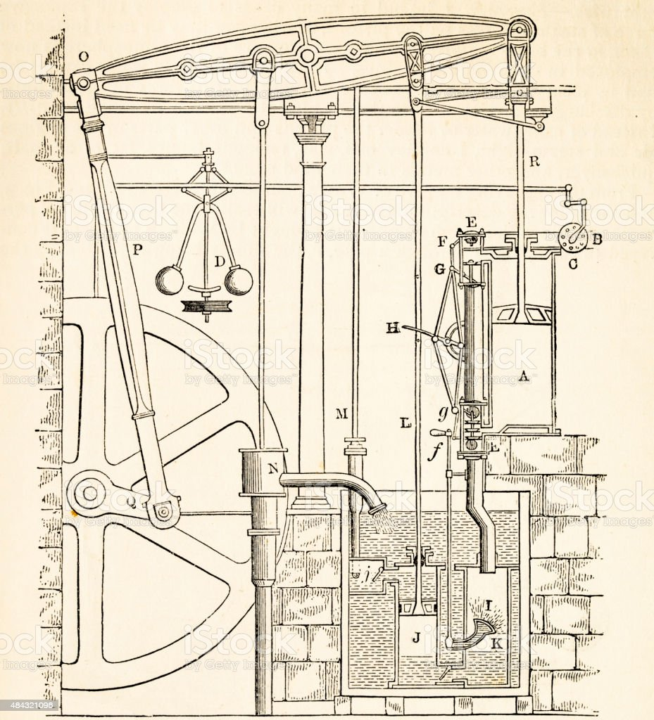 Watt's steam engine, a 19 century technical illustration vector art illustration