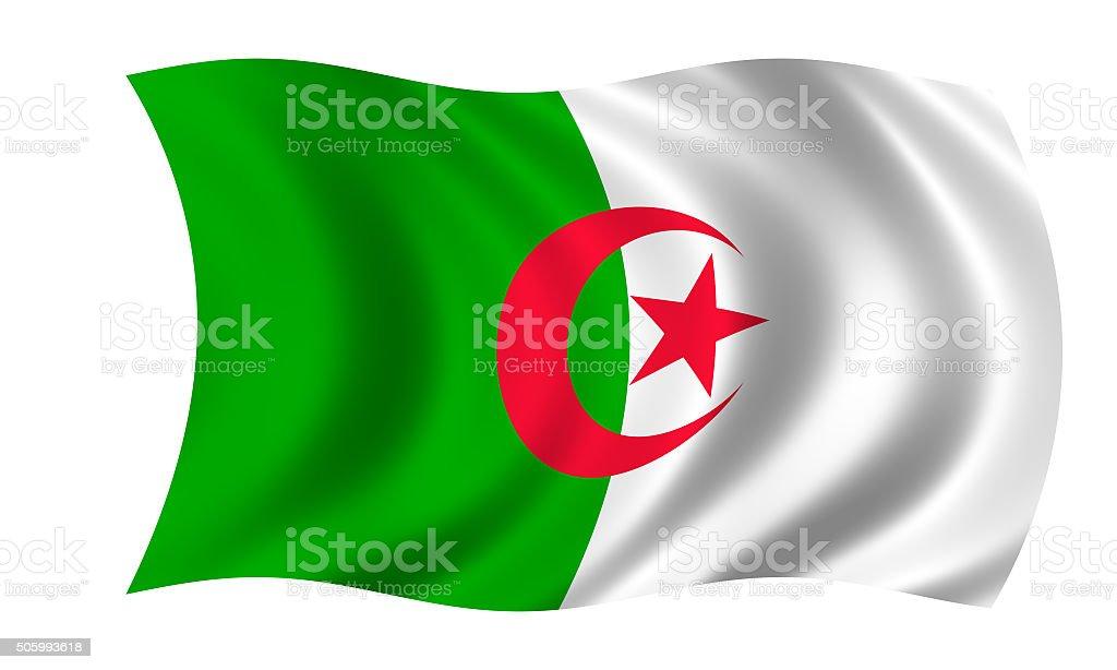 waving algerian flag in wind vector art illustration