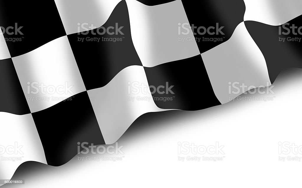 Waving checked flag on white background vector art illustration