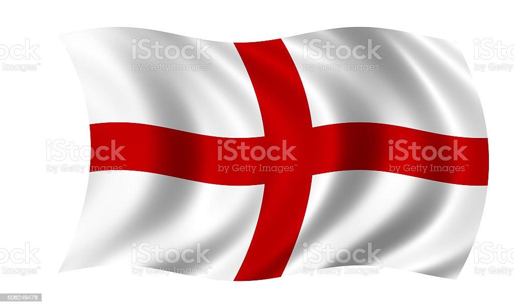 waving english flag in wind vector art illustration