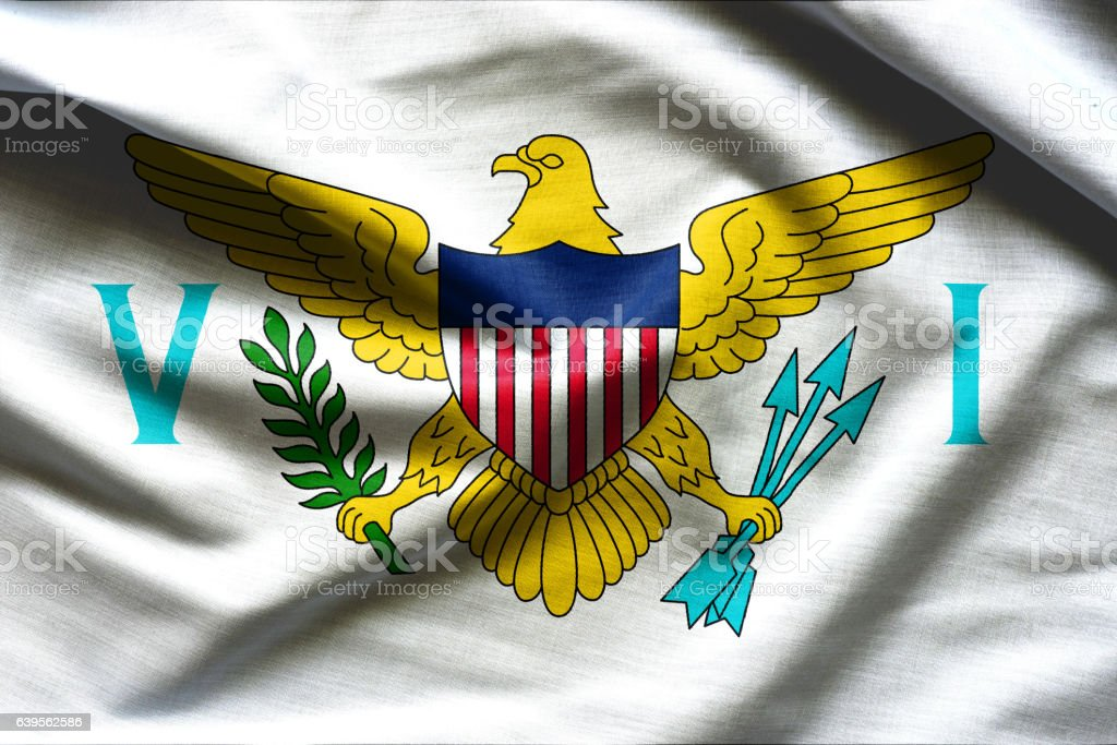 Waving Fabric Flag of United States Virgin Islands vector art illustration