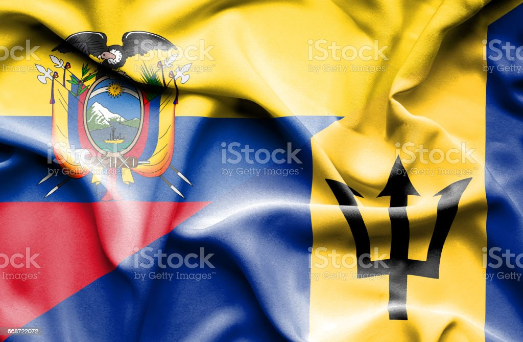 Waving flag of Barbados and Ecuador stock photo