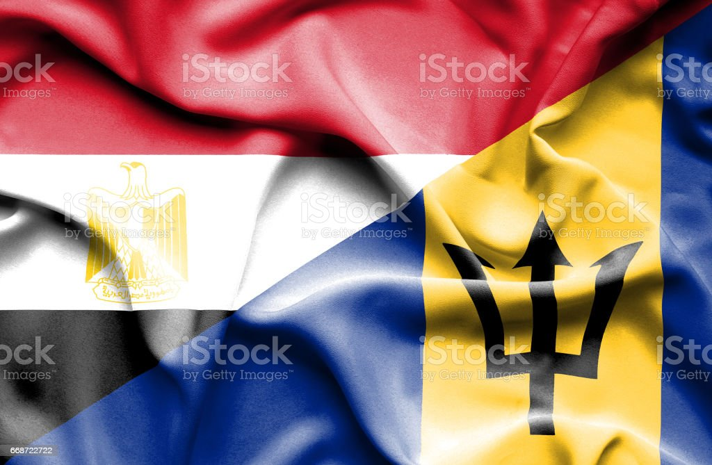 Waving flag of Barbados and Egypt stock photo