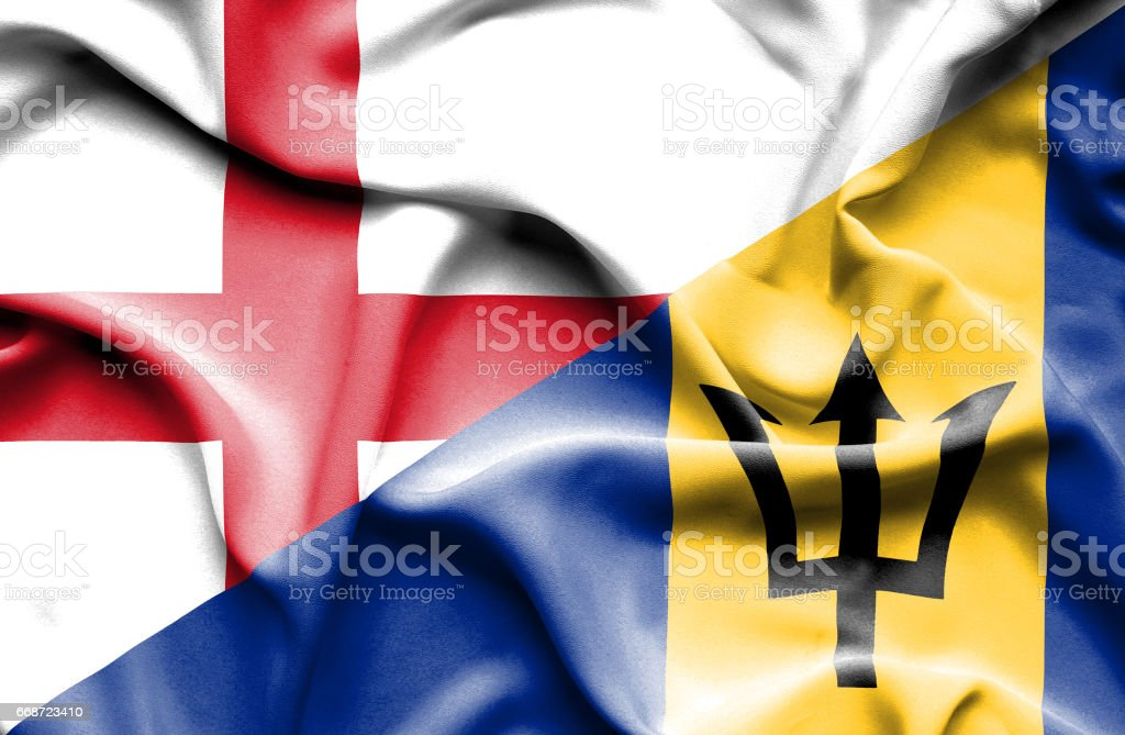 Waving flag of Barbados and England stock photo