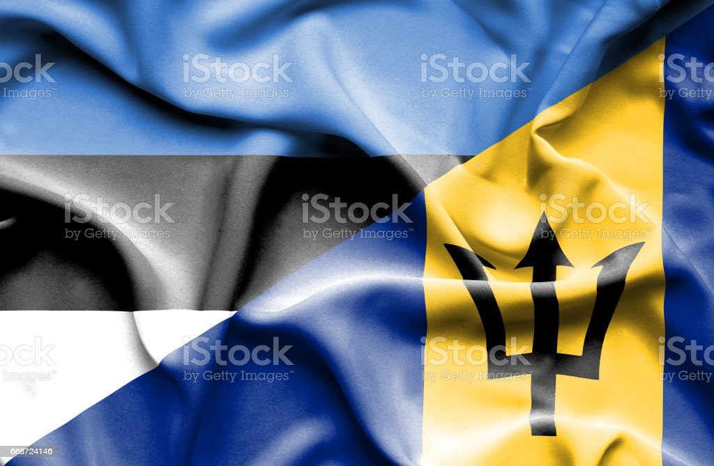 Waving flag of Barbados and Estonia stock photo