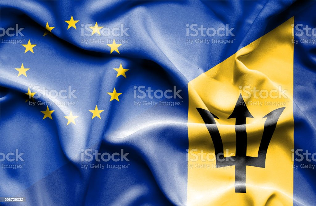 Waving flag of Barbados and EU stock photo