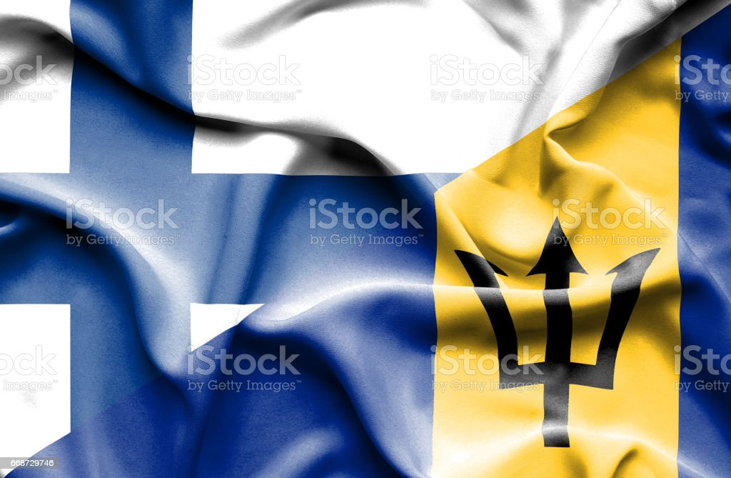 Waving flag of Barbados and Finland stock photo