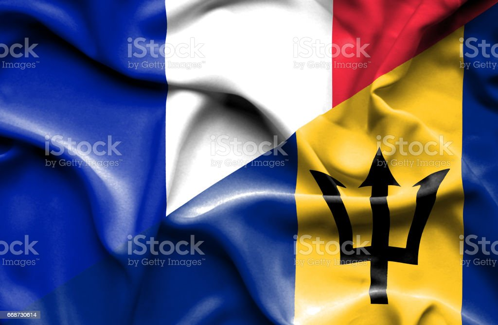 Waving flag of Barbados and France stock photo