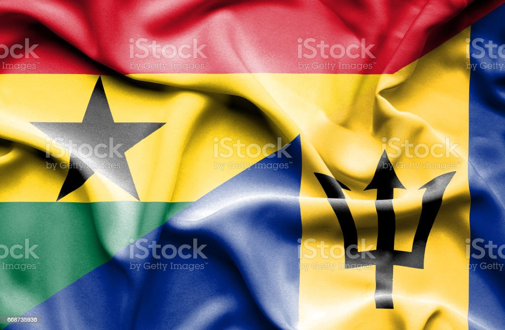 Waving flag of Barbados and Ghana stock photo