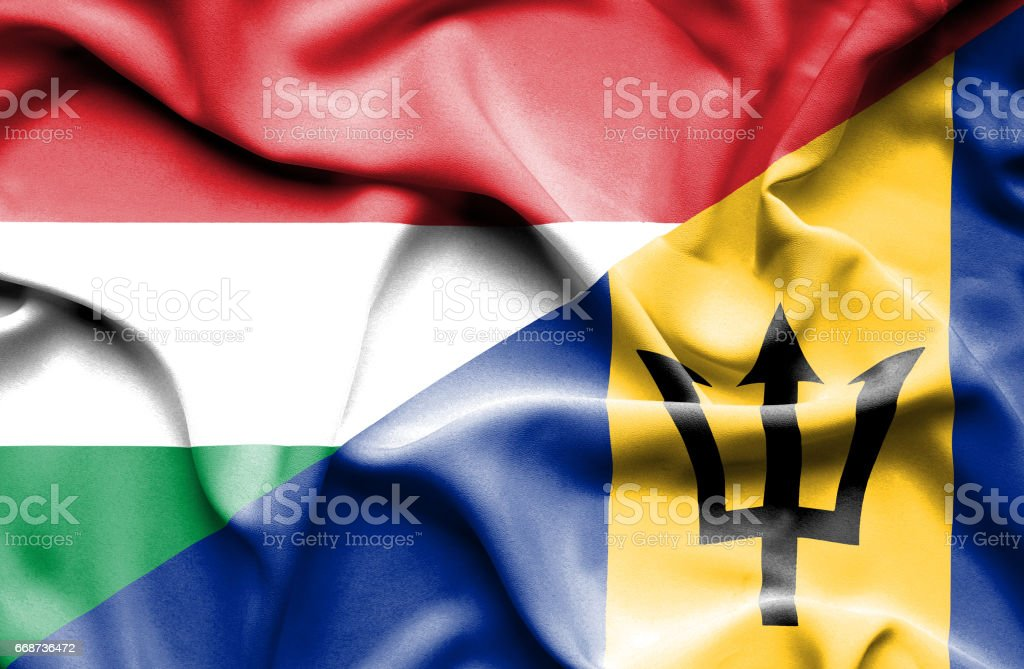 Waving flag of Barbados and Hungary stock photo