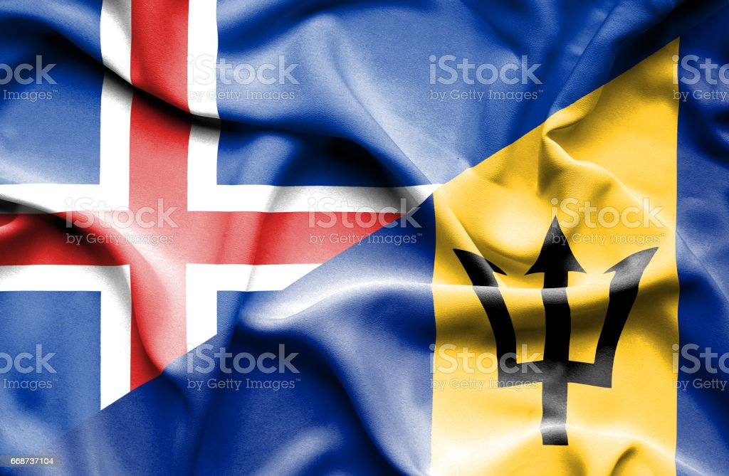 Waving flag of Barbados and Iceland stock photo