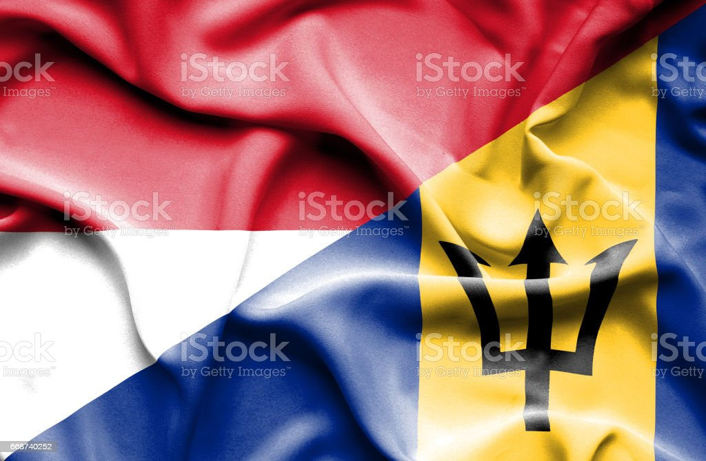 Waving flag of Barbados and Indonesia stock photo