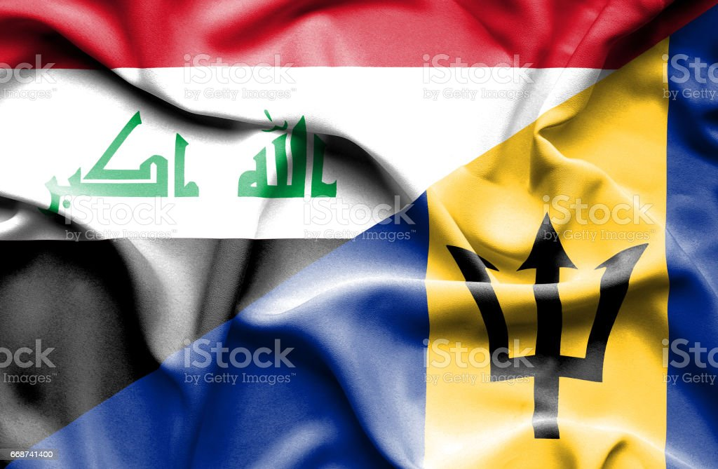Waving flag of Barbados and Iraq stock photo