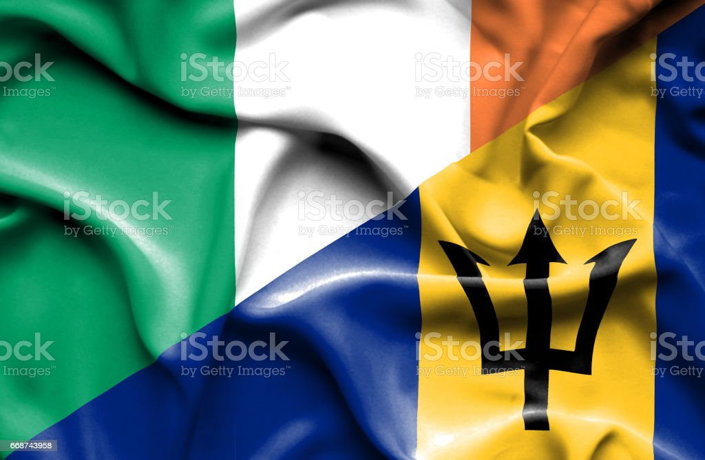 Waving flag of Barbados and Ireland stock photo
