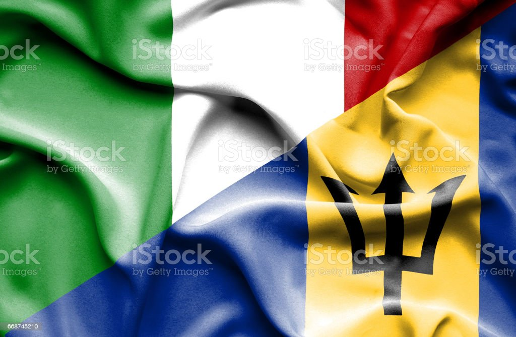 Waving flag of Barbados and Italy stock photo