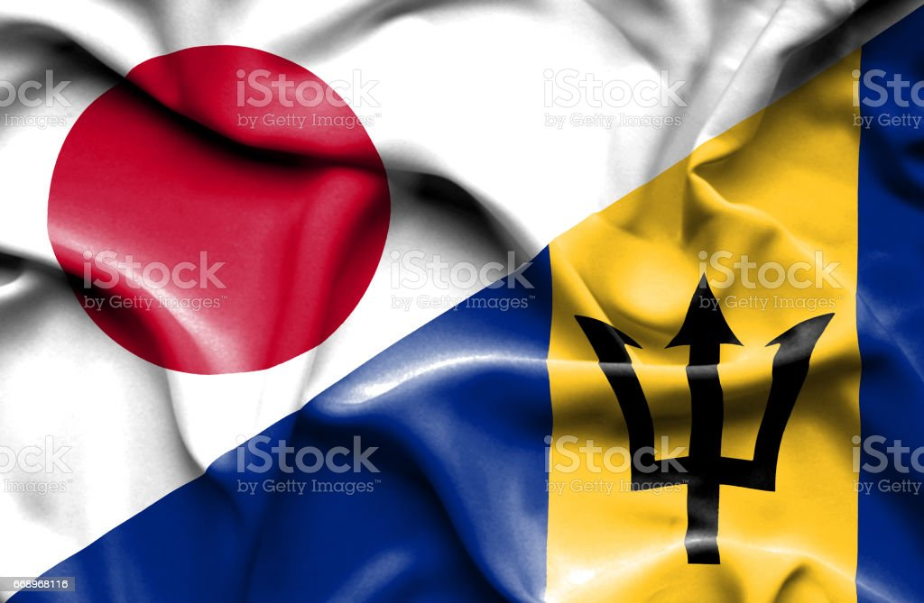 Waving flag of Barbados and Japan stock photo