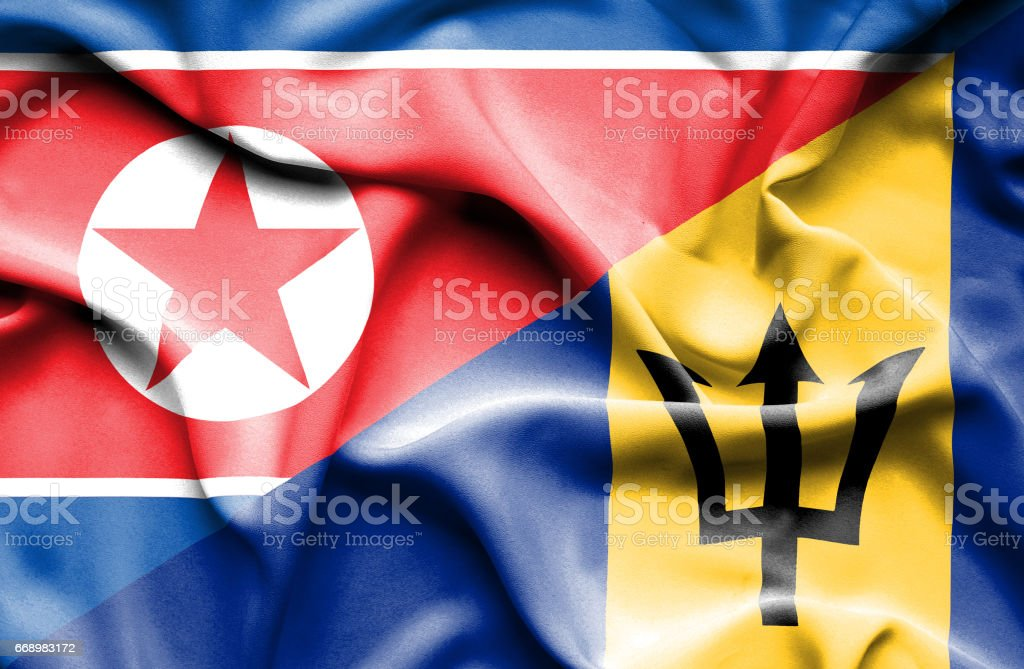 Waving flag of Barbados and North Korea stock photo