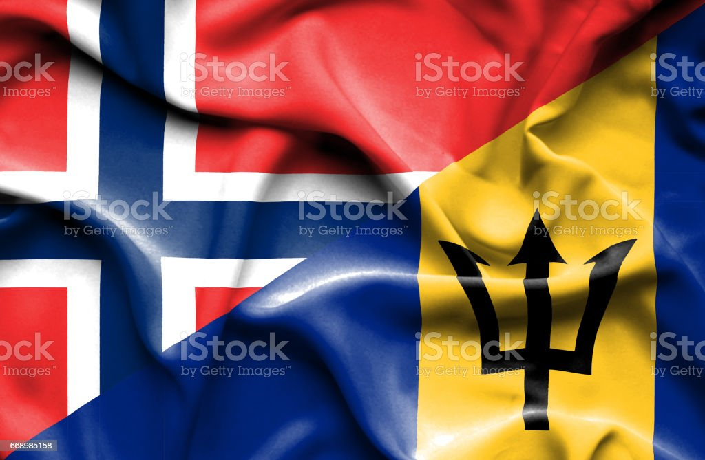 Waving flag of Barbados and Norway stock photo