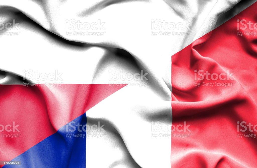 Waving flag of France and Poland vector art illustration