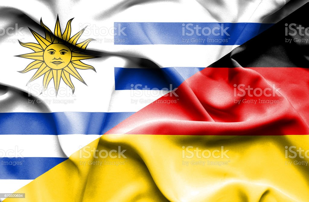 Waving flag of Germany and Uruguay vector art illustration