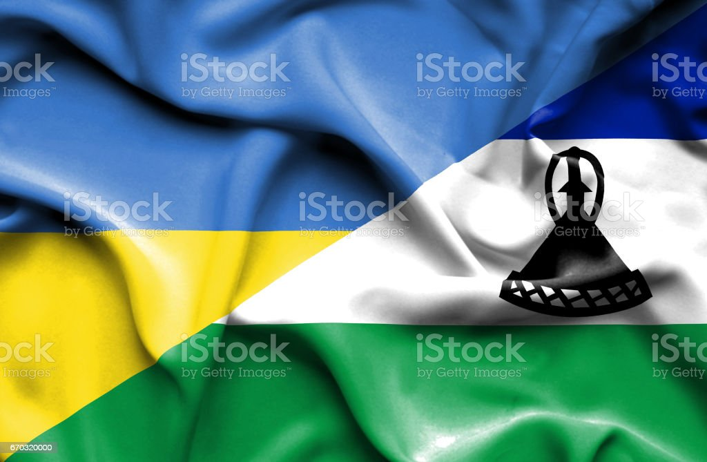 Waving flag of Lesotho and Ukraine vector art illustration