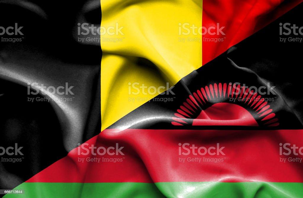 Waving flag of Malawi and Belgium vector art illustration