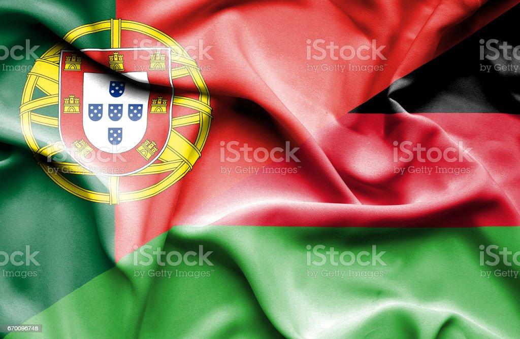 Waving flag of Malawi and Portugal vector art illustration