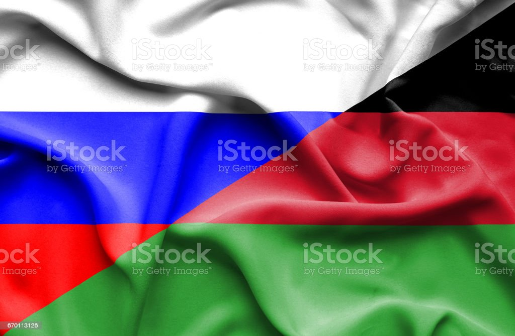 Waving flag of Malawi and Russia vector art illustration