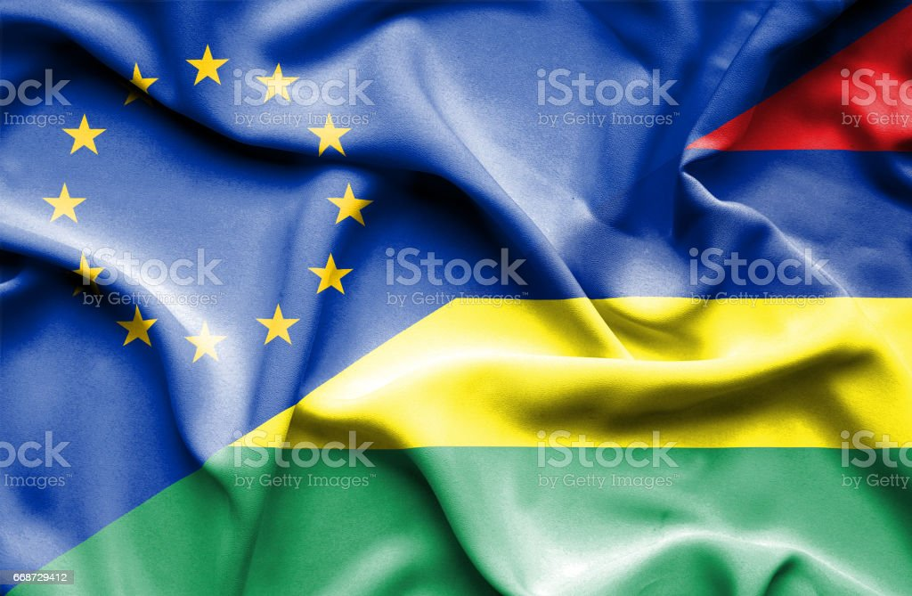 Waving flag of Mauritius and EU stock photo