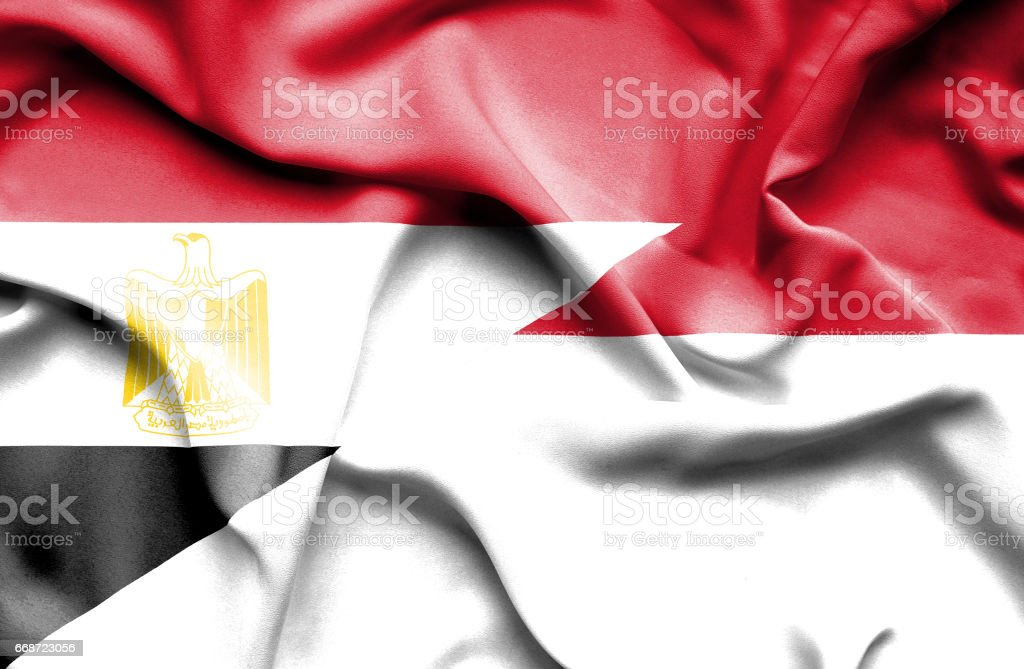 Waving flag of Monaco and Egypt stock photo