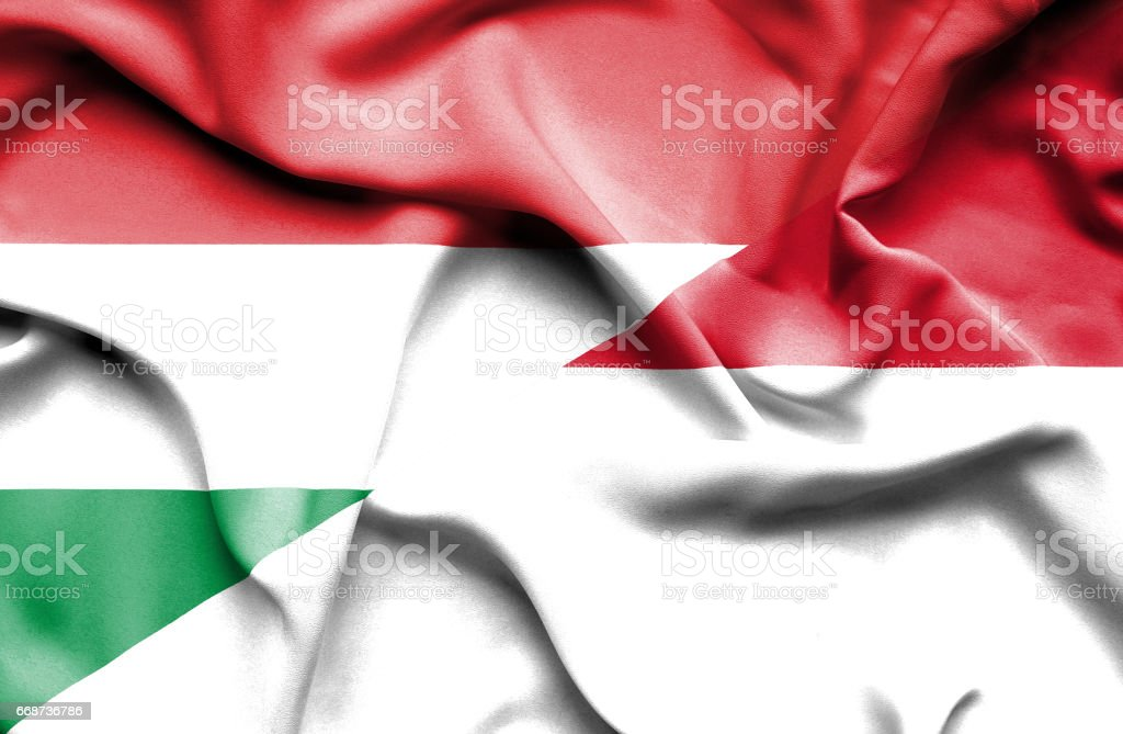 Waving flag of Monaco and Hungary stock photo