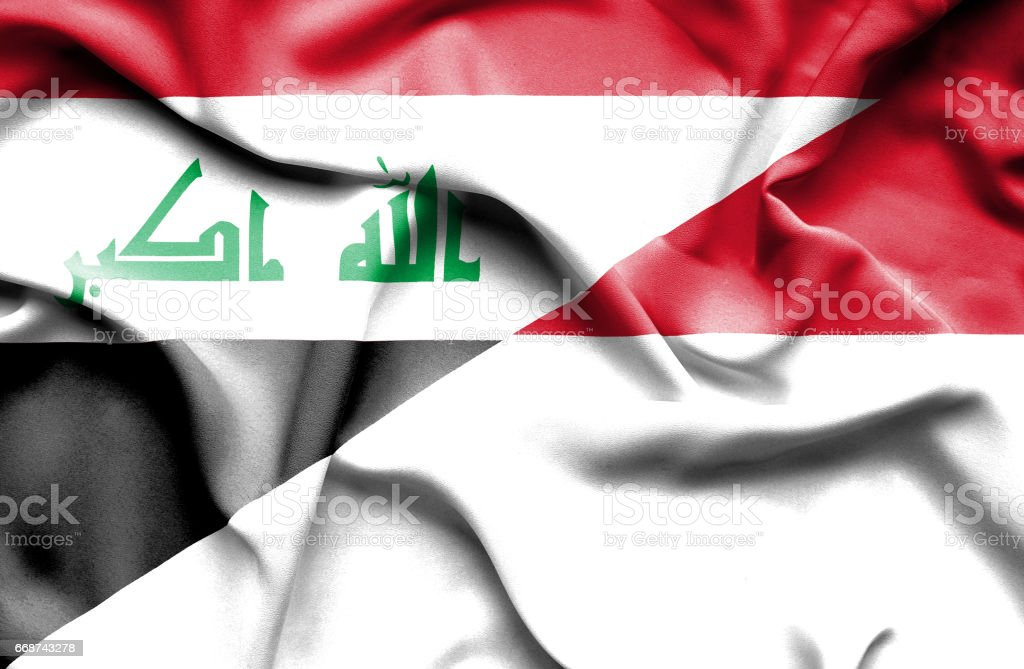 Waving flag of Monaco and Iraq stock photo