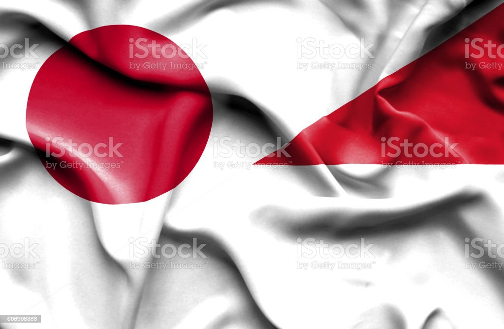 Waving flag of Monaco and Japan stock photo