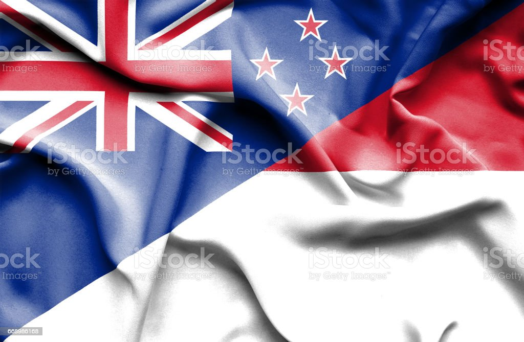 Waving flag of Monaco and New Zealand stock photo