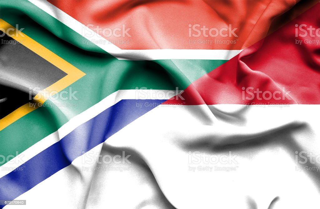 Waving flag of Monaco and South Africa stock photo
