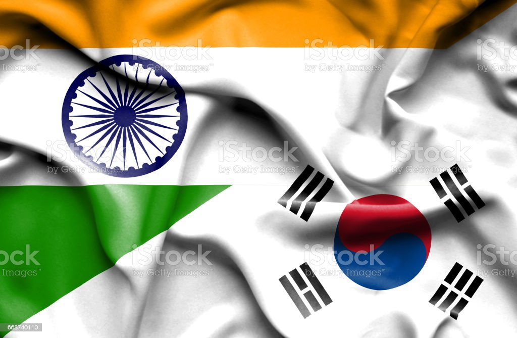 Waving flag of South Korea and India stock photo