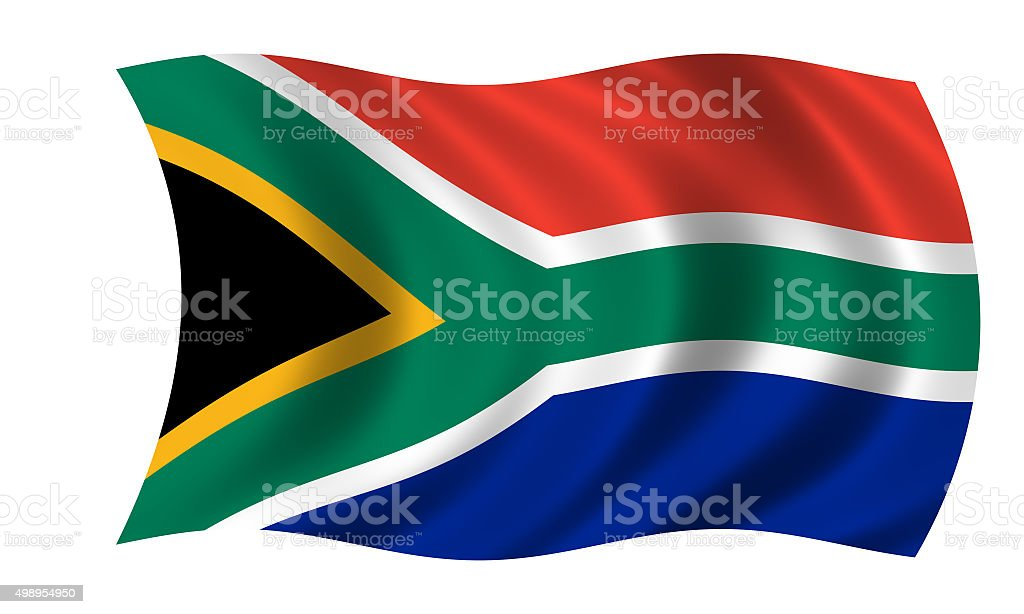 waving south african flag vector art illustration