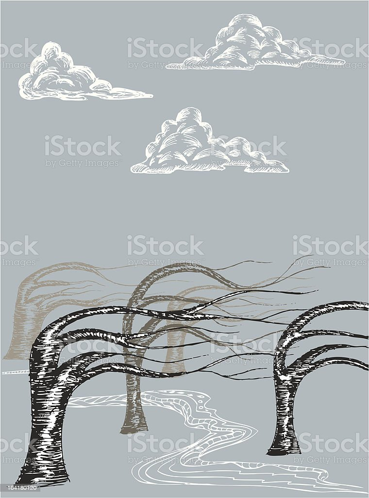 Wavy Forest Blue royalty-free stock vector art