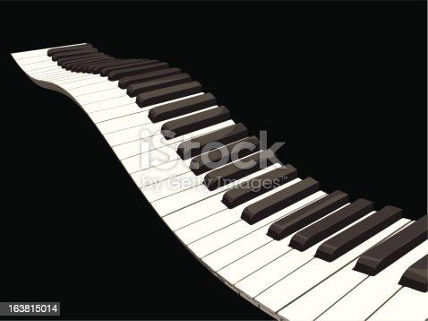 Wavy Piano Keys stock vector art 163815014 | iStock