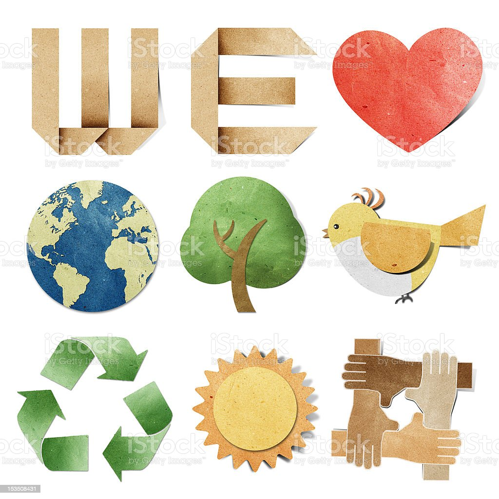 we love tag recycled paper craft vector art illustration