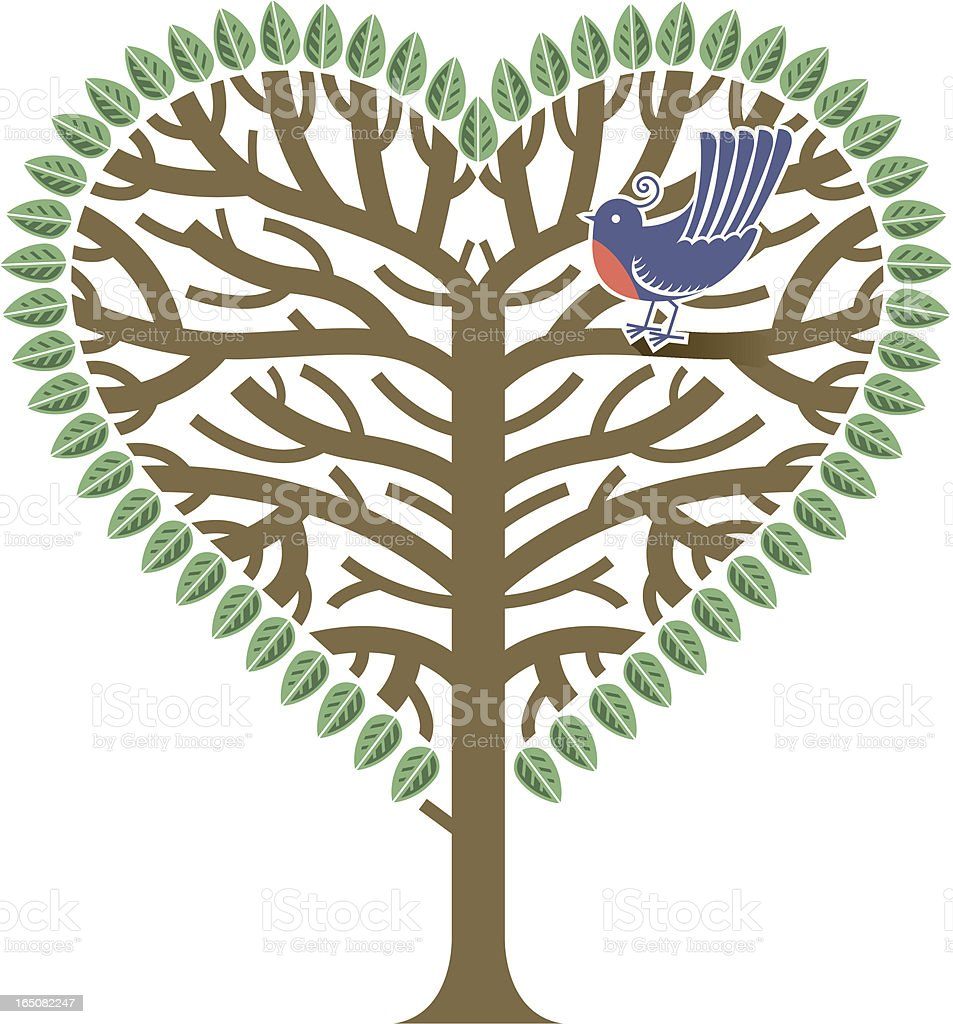 We love trees and birds vector art illustration