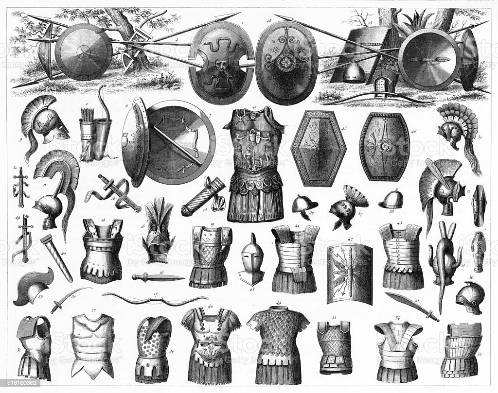 Weapons of the Greeks, Etruscans and Romans vector art illustration