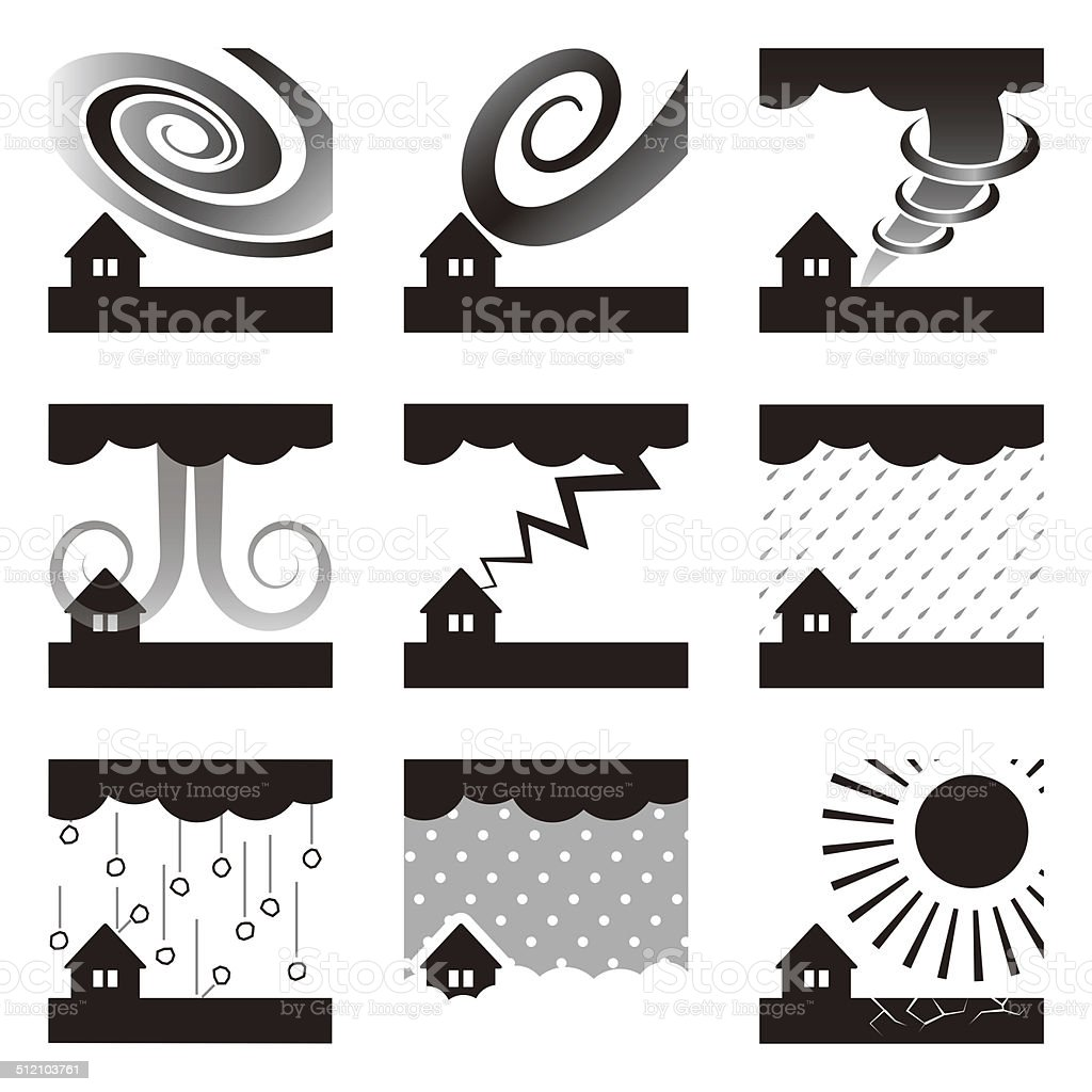 Weather. Disaster. Natural disasters. Icon vector art illustration