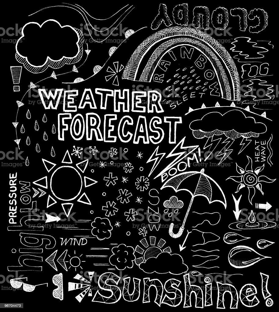 Weather doodles vector art illustration